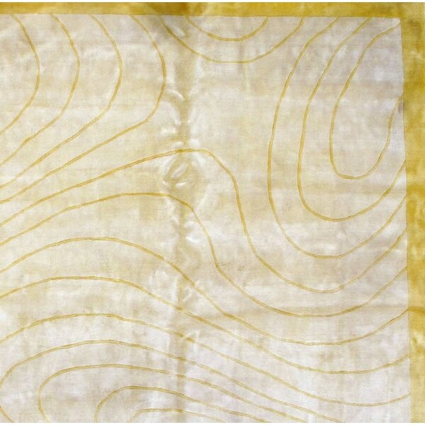 Modern Hand Knotted Silk Ivory Area Rug by Pasargad NY