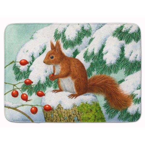 Winter Squirrel Rectangle Microfiber Non-Slip Bath Rug