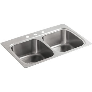 Kohler Verse Top-Mount Double-Equal Bowl Kitchen Sink with 3 Faucet Holes