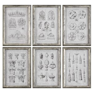 Architectural Accents 6 Piece Framed Graphic Art Set by One Allium Way