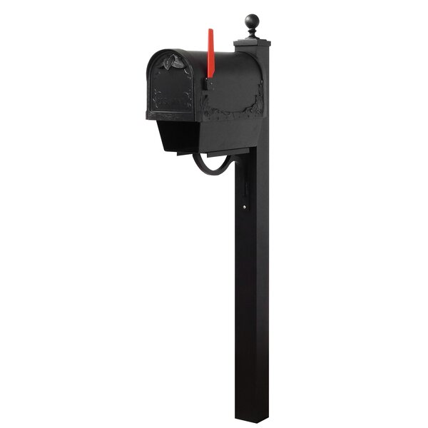 Floral Curbside Locking Mailbox with Springfield Post Included by Special Lite Products