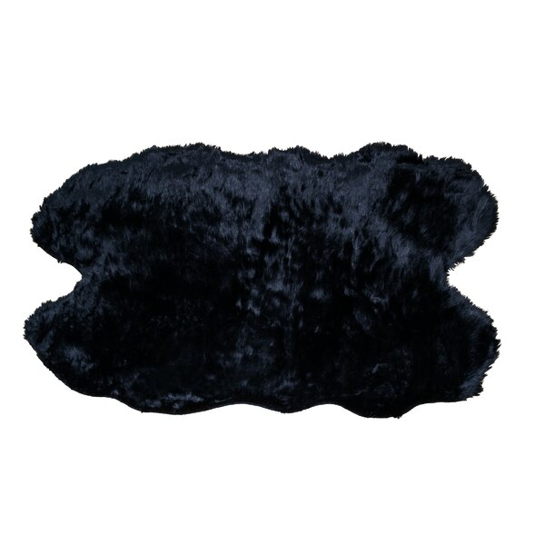 Anvi Faux Sheepskin Black Area Rug by Willa Arlo Interiors