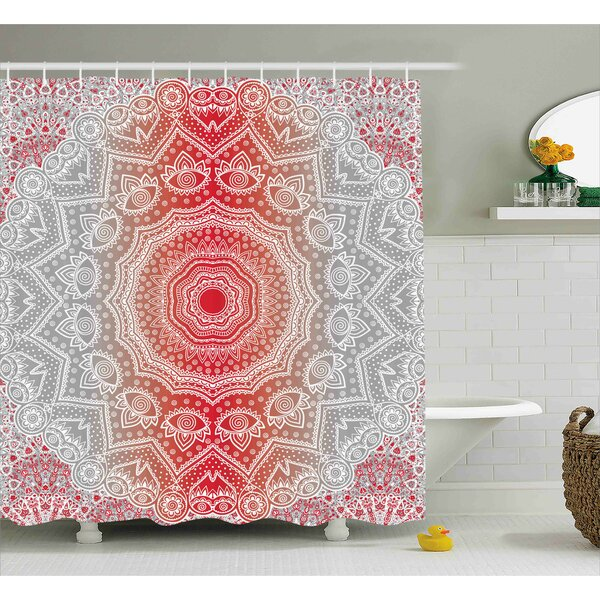 Melinda Grey and Red Ethnic Eastern Cultural Folk Deity and Mystic Boho Zen Ombre Mandala Art Design Shower Curtain by Bungalow Rose