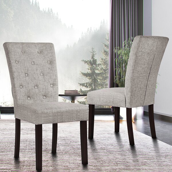 Jibley Tufted Linen Side Chair In Gray By Red Barrel Studio
