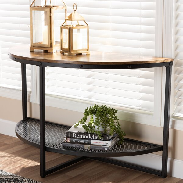 Alfano Vintage Rustic Industrial Console Table by Williston Forge