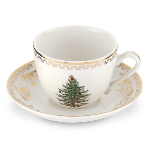 Christmas Tree Gold Teacup And Saucer Set Of 4 By Spode.