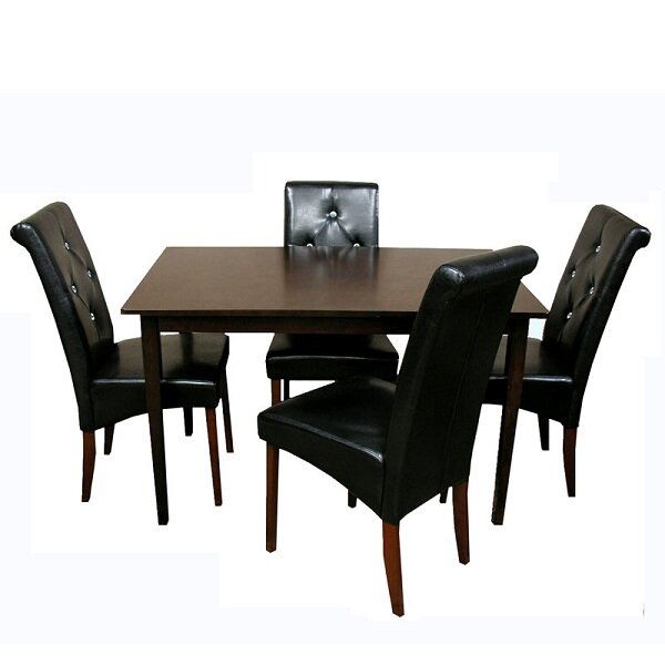 Rosette 5 Piece Solid Wood Dining Set by Winston Porter
