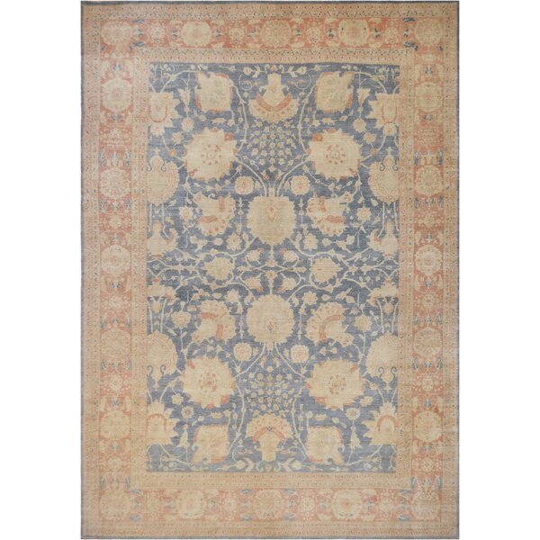 One-of-a-Kind Agra Genuine Hand-Knotted Wool Blue/Beige Indoor Area Rug by Mansour