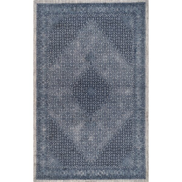 Perlman Hand-Woven Wool Navy Area Rug by Bungalow Rose