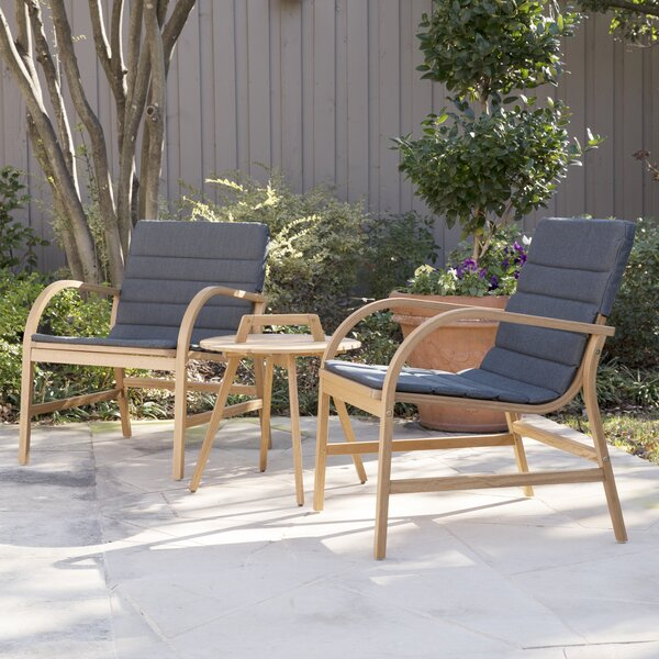 Chenier 3 Piece Outdoor Seating Group with Removable Cushions by George Oliver