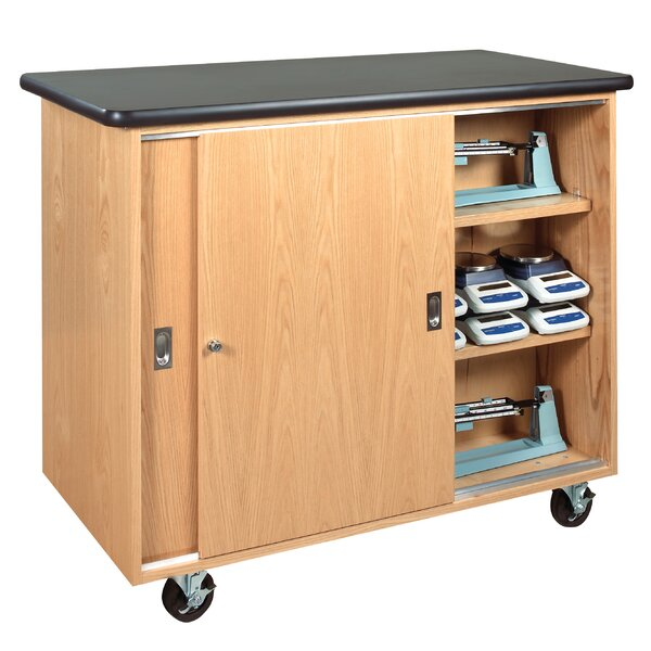 Mobile Series Portable 3 Compartment Classroom Cabinet with Casters by Diversified Woodcrafts