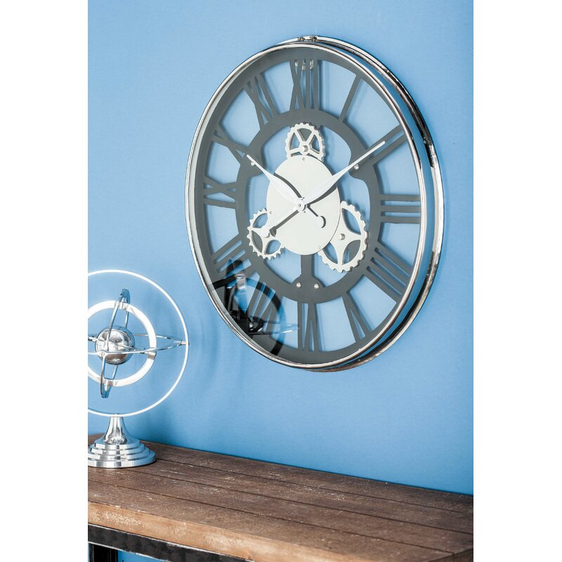 Cole Grey Oversized Stainless Steel 25 Wall Clock Reviews Wayfair