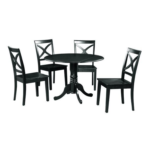 Brompton 5 Piece Drop Leaf Solid Wood Dining Set by Alcott Hill