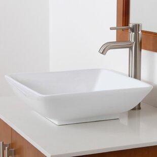 Buy clear Ceramic Square Vessel Bathroom Sink By Elite