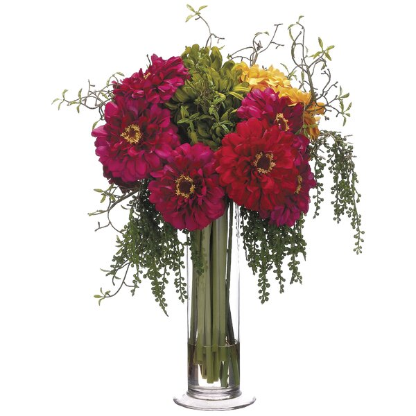 Zinnia Bouquet Floral Arrangement in Glass Vase by Canora Grey