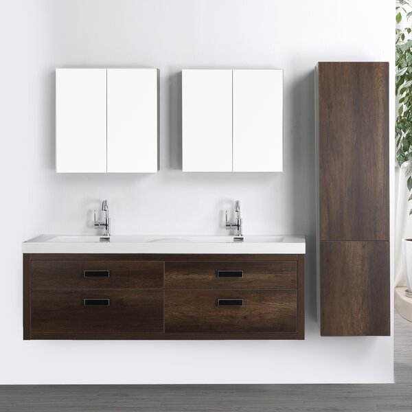63 Wall Mounted Double Bathroom Vanity Set with Mirror by Streamline Bath