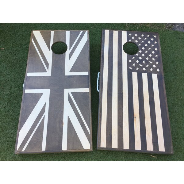 USA and UK Flag Cornhole Set by West Georgia Cornhole