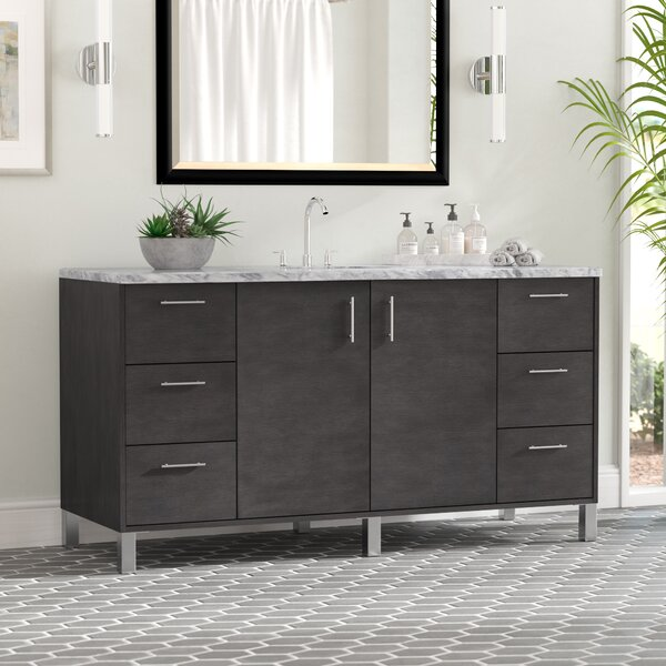 Cordie 60 Single Silver Oak Granite Top Bathroom Vanity Set by Orren Ellis