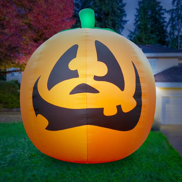Giant Air-blown Inflatable Halloween Pumpkin by The Holiday Aisle