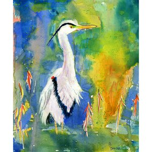 Coastal Blue Heron Painting Print by Betsy Drake Interiors