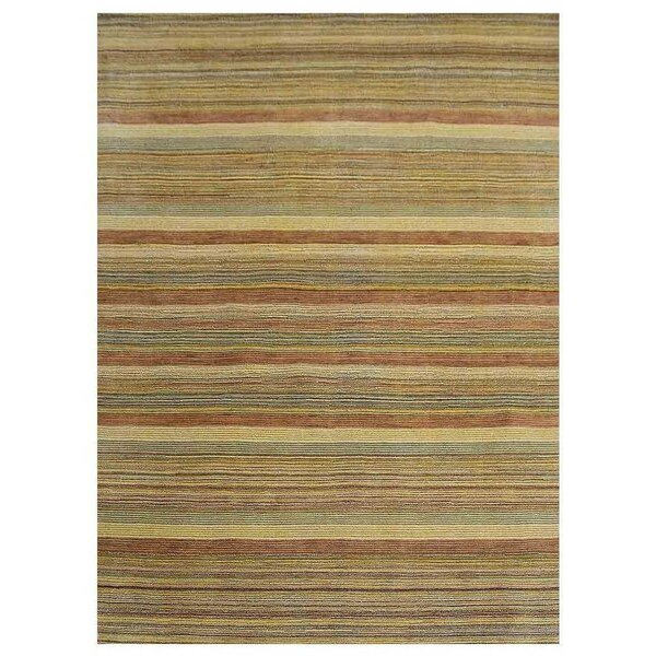 St Catherine Hand-Knotted Wool Yellow/Green Area Rug by Millwood Pines