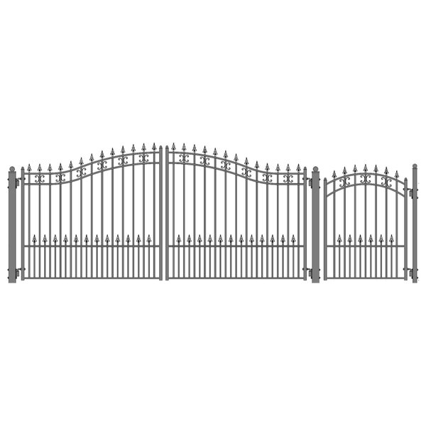 St. Petersburg Steel Dual Swing Driveway Gate with Pedestrian Gate by ALEKO