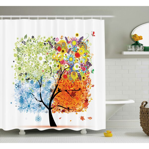 Gina Season Tree Branches With Flowers Spring Summer Autumn Winter Theme Artwork Shower Curtain by Ebern Designs