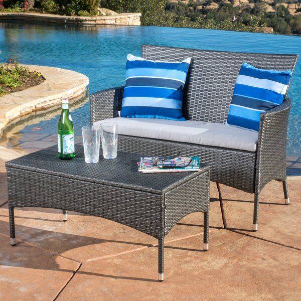 Louella 3 Piece Rattan Sofa Seating Group with Cushions by Andover Mills Andover Mills