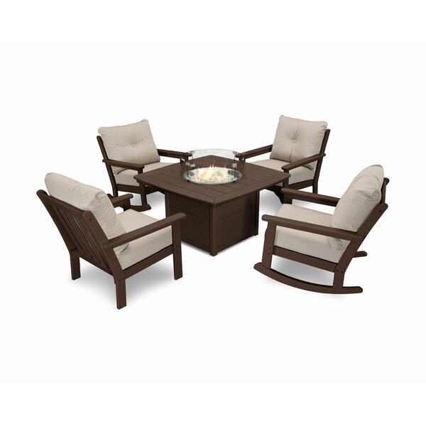 Vineyard 5 Piece Sunbrella Multiple Chairs Seating Group with Cushions by POLYWOOD®