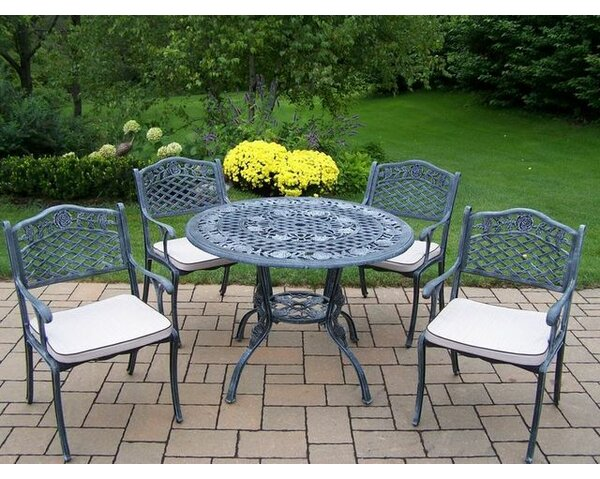 Robertsdale 5 Piece Dining Set with Cushions by Fleur De Lis Living