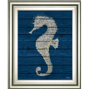 'Antique Seahorse on Blue II' by Patricia Pinto Framed Graphic Art by Classy Art Wholesalers