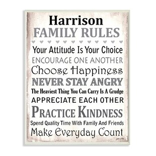 Charming Personalized Family Rules By Janet White Textual Art On Wood