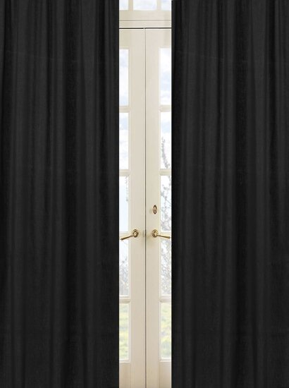Minky Dot Solid Semi-Sheer Rod Pocket Curtain Panels (Set of 2) by Sweet Jojo Designs