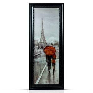 'Paris Stroll' Framed Painting Print by Crystal Art Gallery