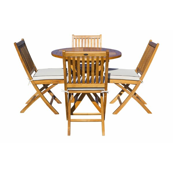 Everleigh 5 Piece Teak Sunbrella Dining Set with Cushions by Bay Isle Home