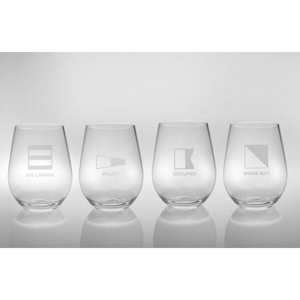 Life at Sea Plastic 4-Piece Assorted All Purpose Glass Set (Set of 4) by Rolf Glass