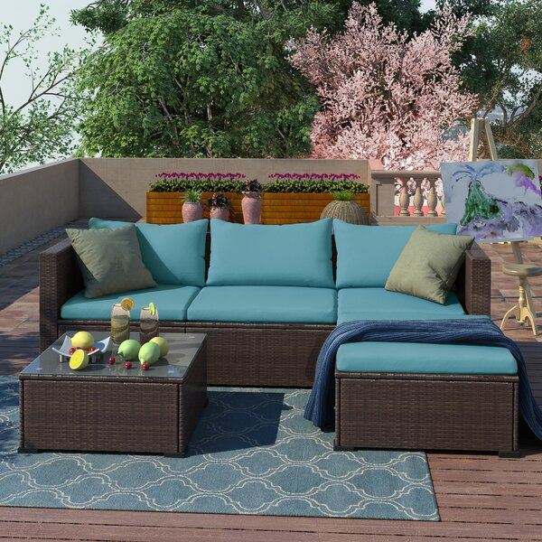 Alissabeth Outdoor 3 Piece Rattan Sectional Seating Group with Cushions by Latitude Run