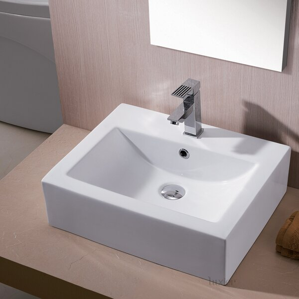 Ceramic Rectangular Vessel Bathroom Sink with Overflow by Luxier