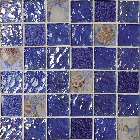 Rhapsody 2 x 2 Glass and Seashell Mosaic Tile in Ocean Blue and Sea Shell by Intrend Tile