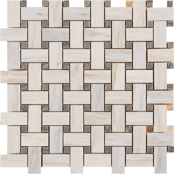 Angora Basketweave Marble Mosaic Tile in Beige/Brown by MSI