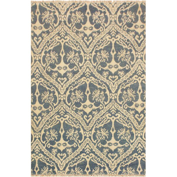 One-of-a-Kind Lusk Hand Knotted Wool Blue/Ivory Area Rug by World Menagerie