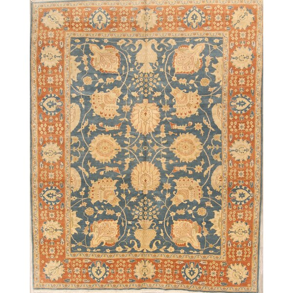 Ivesdale Oushak Oriental Hand-Knotted Wool Blue/Orange Area Rug by Bloomsbury Market