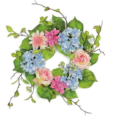 20 Rose and Hydrangea Artificial Floral Wreath by Northlight Seasonal