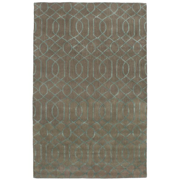 Griffing Hand-Tufted Wool/Silk Khaki/Turquoise Area Rug by Ivy Bronx
