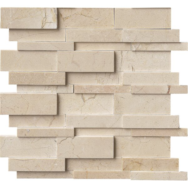 Hedron Interlocking 3D Marble Mosaic Tile in Beige by MSI