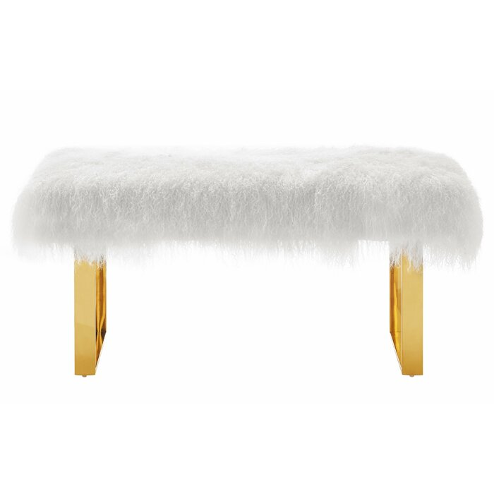 product sheepskin bench products sherpa legs image mikasa gold furniture with