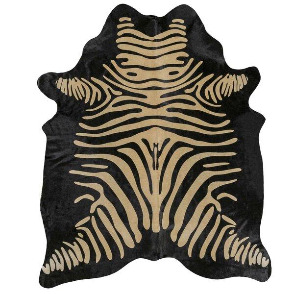 Zebra Printed Cowhide Black/Brown Area Rug by Rodeo