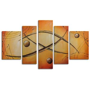 Orbs Jump Rope 5 Piece Painting on Canvas Set by My Art Outlet