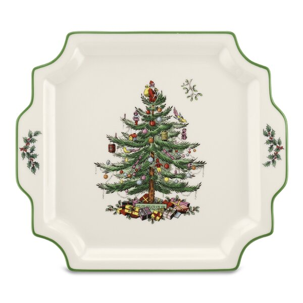 Christmas Tree Serve Handled Platter by Spode