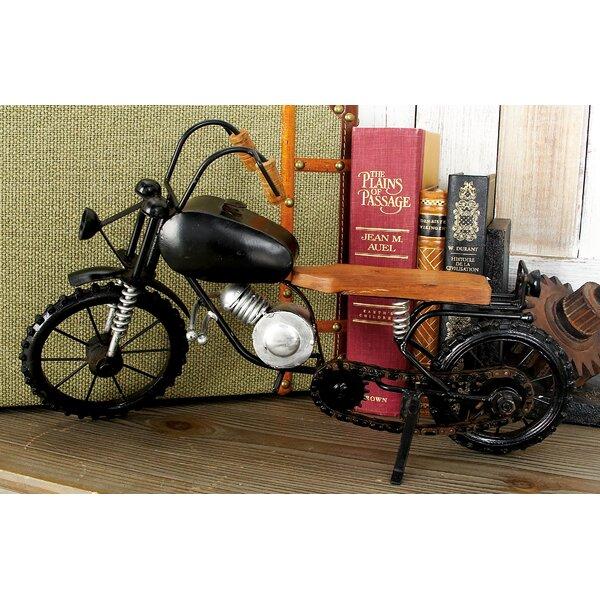 Metal Wood Motorcycle Sculpture by Cole & Grey